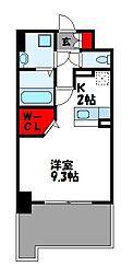 JR篠栗線 柚須駅 徒歩24分の賃貸マンション 5階ワンルームの間取り
