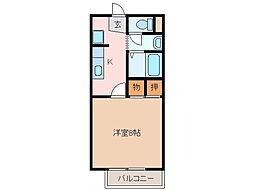 伊勢鉄道 東一身田駅 徒歩7分の賃貸アパート 1階1Kの間取り