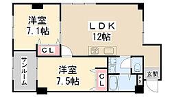 シャンブル吉岡[305号室]の間取り