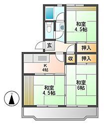 中駒九番団地4号棟[3階]の間取り
