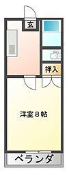 JR赤穂線 西川原駅 徒歩2分の賃貸マンション 1階1Kの間取り