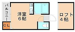 福岡県福岡市東区香椎2丁目の賃貸アパートの間取り