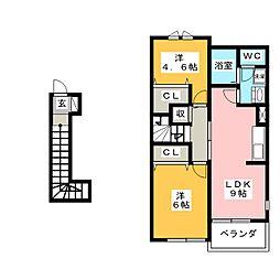 ハイツイチローB[2階]の間取り