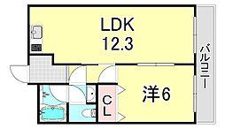 ミスターK上新庄 2階1LDKの間取り