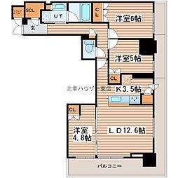 ザ・グランアルト札幌 苗穂ステーションタワー 8階3LDKの間取り