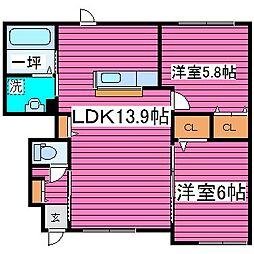 北海道札幌市東区北四十三条東5丁目の賃貸アパートの間取り