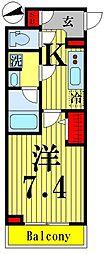 東武伊勢崎線 鐘ヶ淵駅 徒歩6分の賃貸マンション 3階1Kの間取り
