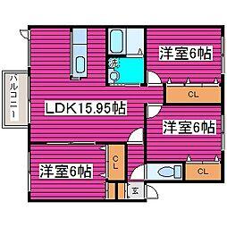 北海道札幌市東区北四十四条東5丁目の賃貸アパートの間取り