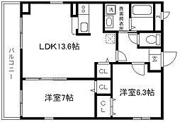 トゥールモンド京都五条[4階]の間取り