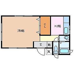 岡本1丁目アパート[2階]の間取り