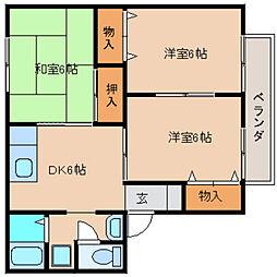 奈良県奈良市富雄元町1丁目の賃貸アパートの間取り