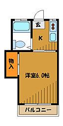 東京都国分寺市内藤の賃貸アパートの間取り