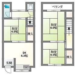 [テラスハウス] 大阪府寝屋川市高柳5丁目 の賃貸【/】の間取り