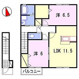 グランドゥール飾東A・B棟[2階]の間取り