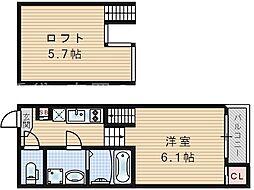ハーモニーテラス塚本[2階]の間取り