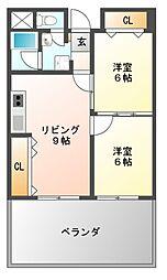 プラネット藤井寺[2階]の間取り