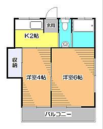 東京都東久留米市前沢2丁目の賃貸アパートの間取り
