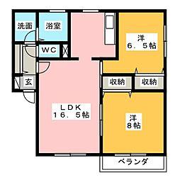グランパ−クJ[1階]の間取り