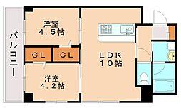 JR博多南線 博多南駅 徒歩5分の賃貸マンション 2階2LDKの間取り