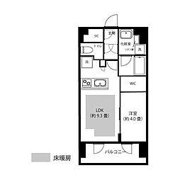 ピアース渋谷WEST 12階1LDKの間取り