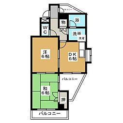 コーポ山田[6階]の間取り