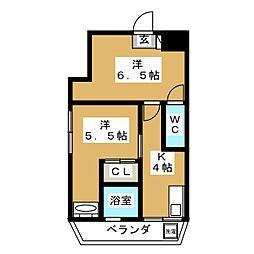 タカシマ桜丘マンション 2階2Kの間取り