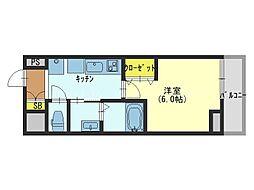 近鉄難波線 今里駅 徒歩10分の賃貸マンション 8階1Kの間取り