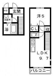 フジパレス谷町A棟[2階]の間取り