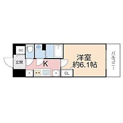 プレサンス THE TENNOJI 逢阪トゥルー 7階1Kの間取り