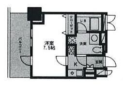 東京都渋谷区千駄ヶ谷2丁目の賃貸マンションの間取り