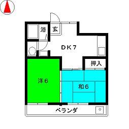 コーポ田園[3階]の間取り