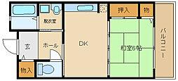 大阪府羽曳野市高鷲3丁目の賃貸マンションの間取り