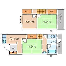 [テラスハウス] 奈良県大和高田市大中南町 の賃貸【/】の間取り