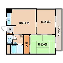 奈良県奈良市芝辻町3丁目の賃貸マンションの間取り