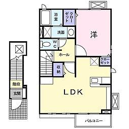 神奈川県相模原市中央区上溝7丁目の賃貸アパートの間取り