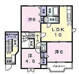JR瀬戸大橋線 坂出駅 徒歩33分の賃貸アパート 2階3LDKの間取り