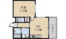 クイーンハイツ桑津[7階]の間取り
