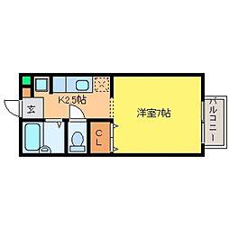 兵庫県神戸市東灘区深江南町1丁目の賃貸アパートの間取り