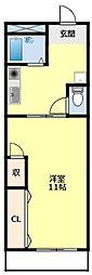 名鉄豊田線 浄水駅 4.8kmの賃貸マンション 3階1Kの間取り