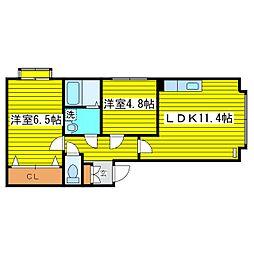 北海道札幌市東区本町一条6丁目の賃貸マンションの間取り