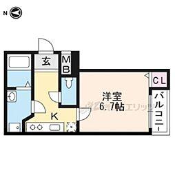 阪急京都本線 西向日駅 徒歩5分の賃貸マンション 3階1Kの間取り