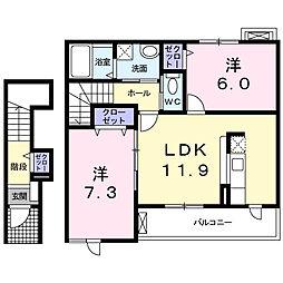 愛知県西尾市平坂町家下の賃貸アパートの間取り