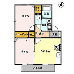 福岡県北九州市八幡西区下上津役2丁目の賃貸アパートの間取り