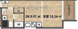 メルシアター リゾート 9階1DKの間取り