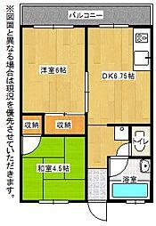 福岡県北九州市戸畑区新池2丁目の賃貸マンションの間取り
