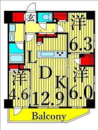 東武伊勢崎線 浅草駅 徒歩15分の賃貸マンション 5階3LDKの間取り