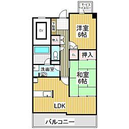 アディナス武蔵浦和 2階2LDKの間取り