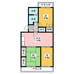 トワコート西焼津[1階]の間取り