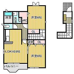 愛知県名古屋市中川区万場5丁目の賃貸アパートの間取り