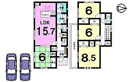 土地面積55.9坪。駐車3台可能です。モデルルームもございますのでお気軽にお問合せ下さい。